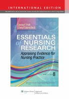 Essentials of nursing research : appraising evidence for nursing practice / Denise F. Polit, Cheryl Tatano Beck